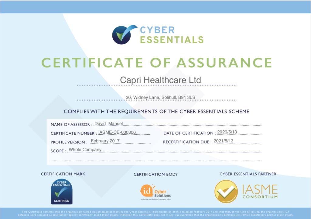 Cyber Essential Certificate
